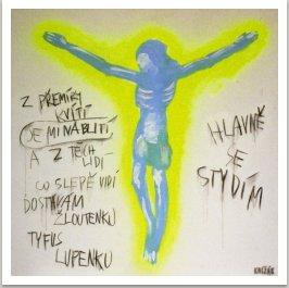 Hlavně se stydím-Modlitba, 2006, akryl a uhel na plátně,190x190cm