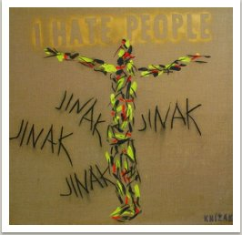 I hate people-Touha, 2007, akryl, uhel a sprej na plátně, 190x190 cm