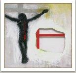 Jesus-Ukřižovat nestačí, 2006, akryl, textil, kov, nůž na plátně, 190x190cm