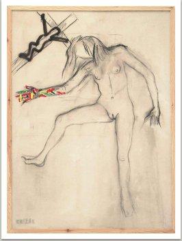 Chytni mě za ruku, 2001, akryl, uhel na plátně, 200x145 cm