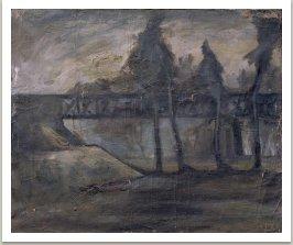 Železniční most v Mariánských Lázních, 1958-59, olej na plátně, 71x59 cm