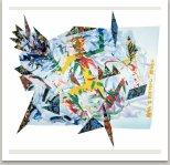 Žena s kvetoucí rukou, 1985-87, disperse, tempera, textil na papíře, 200x220 cm