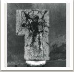 Bez názvu, 1963, olej a email na překližce, cca 80x50 cm
