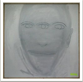 Portrét přítele, 2006, akryl a uhel na plátně, 190x190 cm