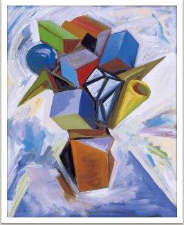 Kytice pro Franka, 2000, akryl na dřevotřísce, 83x66 cm