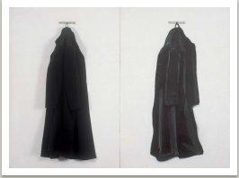 Dva kabáty, 1964, olej, umělá hmota, textil na sololitu, 2x (cca 135x90cm)