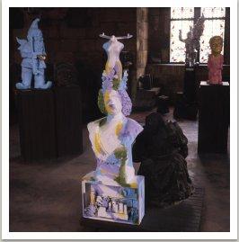 Milovník, 1990, akryl, různé materiály, 163x53x50 cm výstava v Prašné bráně 29.5