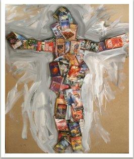 Ukřižování, 2007, dřevo, papír, kov, akryl