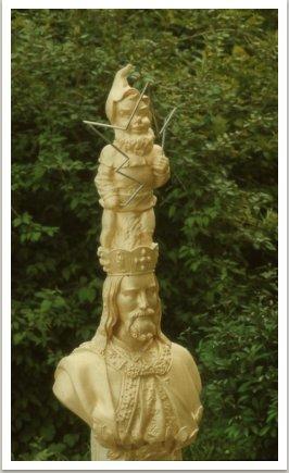 Otcové vlasti I., 1989, akryl, sádra, kov, umělá hmota, 155x60x33 cm