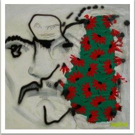 Fešiak, 2003, akryl, textil na plátně, 170x170 cm