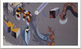 Vzpomínka na Hippie Town,1990, textil,akryl na plátně, 300x170cm