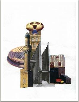 Nové stavby vzniklé koláží nejrůznějších architektonických prvků, 1986