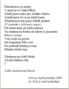 Svět je lepší prázdný, (převážně zlé básně) jako ilustrace jsou použity portréty a karikatury M. Knížáka publikované v tisku. Vyd. Alphamedia, 2004