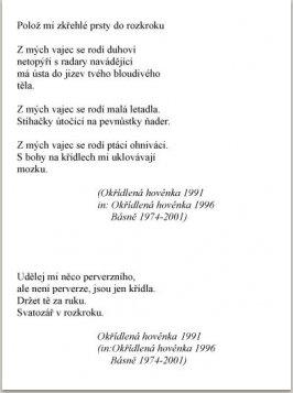 Okřídlená hovénka, Erotické básně, nakl. Litera Praha, 1996