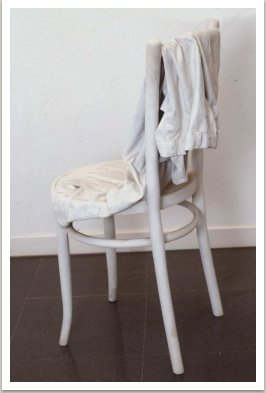 Socha židle, 1964, dřevo, textil, disperse, 100x40x45 cm
