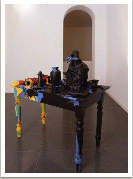 Stůl hořící keř, 1989, 130x120x70 cm