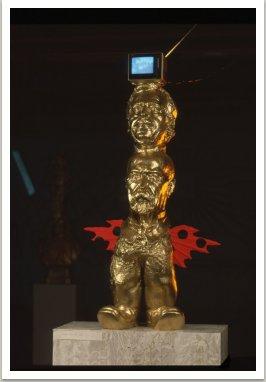 Otcové vlasti II., 1990, akryl, dřevo, kov,umělá hmota, 120x50x40 cm