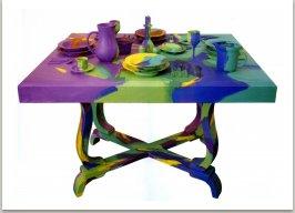 Zátiší, 1989, akryl, dřevo, 130x130x100 cm