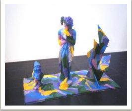 Obraz malovaný na sochu, 1989, akryl, mramor, beton, dřevo,180x150x90 cm