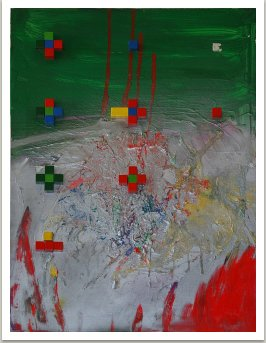 Z cyklu Tacho-geo, 1992, akryl a dřevo na plátně, 100x70 cm