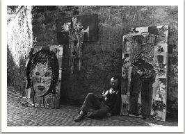 Výstava na zdi, 1963, ulice Nový Svět, Praha-Hradčany