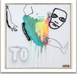 Milostný příběh, 2012, akryl a uhel na plátně, 190x190 cm