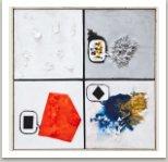 Comics, 2013, akryl a papírová hmota na plátně, 140x140 cm