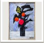 Květiny, 2013, akryl a papírová hmota na plátně, 100x70 cm