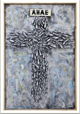 AHAE-finished 31.8.2014, akryl a umělá hmota na   dřevodesce, 150x100 cm