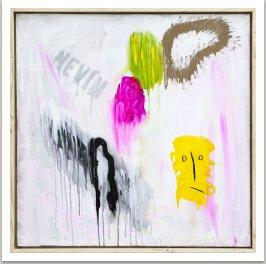 Nevím, 2013, akryl a uhel na plátně, 105x105 cm