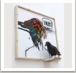 Anárv, 2013, akryl, papírová hmota a uhel na plátně, dřevo, umělá hmota  a kov, 80x80x25 cm
