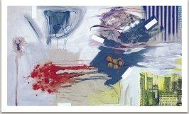 Autoportrét, 1993, akryl, uhel a fotokopie na plátně, 175x300cm