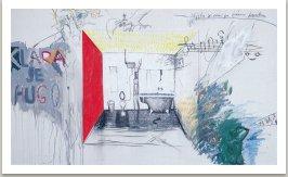 Klára je Hugo, 1993, akryl, uhel a umělá hmota a fotokopie na plátně, 175x300cm