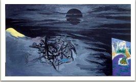 Krajina s dvojitým svítáním, 1992, uhel na plátně, 175x300cm