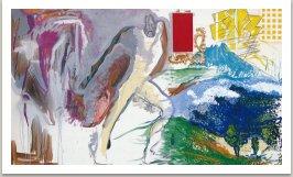 Krajina s hrdinou, 1992-3 akryl uhel a umělá hmota na plátně, 175x300cm