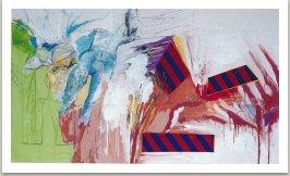 Průnik několika krajin, 1993, akryl, uhel, textil a kov na plátně, 175x300cm