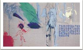 Šikmá krajina, 1993, akryl, uhel, kov a fotokopie na plátně, 175x300cm