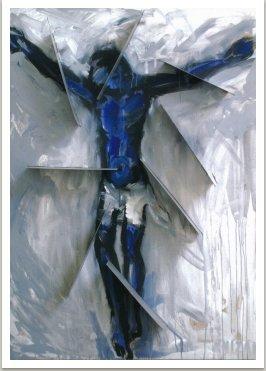 Ukřižování 2007 akryl, kov na plátně, 170x130 cm