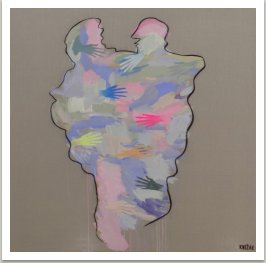 DOTEKY, 2017, akryl, sprej na plátně, 190x190 cm