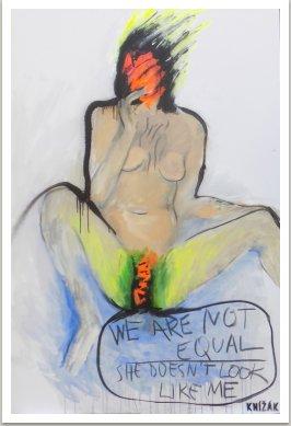 NOT EQUAL, 2017, akryl, sprej na plátně, 130x100 cm