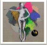 Tanec, 2017, akryl, sprej, umělá hmota na plátně, 190x190 cm
