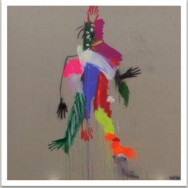 Bojovník podávající ruce, 2017, akryl a uhel na plátně, 190x190 cm