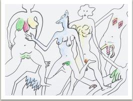 Omalovánky pro nové pohlaví, 2018 (fix a akvarel na papíře) 50x70 cm