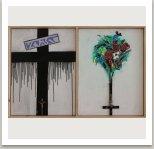 Z cyklu Svaté obrázky, 2020, komb. technika na dřevotřísce), 75x110 cm